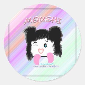 """Pegatina del dibujo animado de """"Moushi"""""""