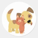 Pegatina del dibujo animado del gatito y del perri