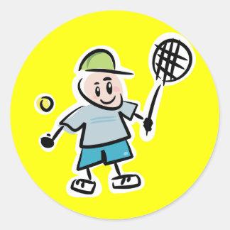 Pegatina del dibujo animado del tenis