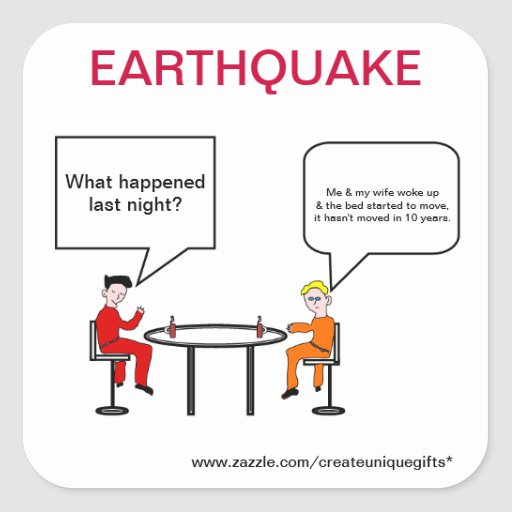 Pegatina del dibujo animado del terremoto