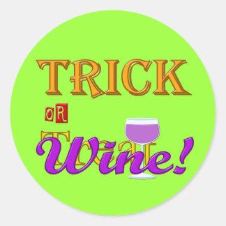 Pegatina del diseño de Halloween del vino del truc