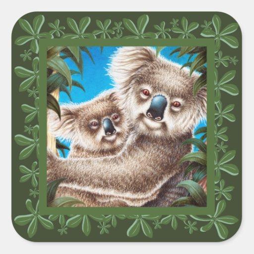 Pegatina del diseño de la koala y de la hoja del