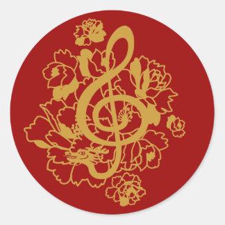 Pegatina del diseño de la música de los Peonies