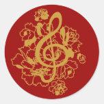 Pegatina del diseño de la música de los Peonies de