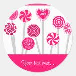 Pegatina del diseño de los Lollipops del corazón
