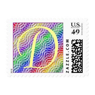 Pegatina del diseño del color del arco iris de la timbres postales