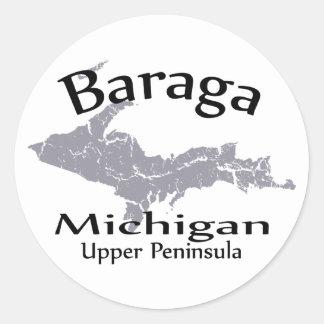 Pegatina del diseño del mapa de Baraga Michigan