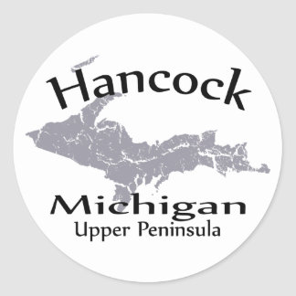 Pegatina del diseño del mapa de Hancock Michigan