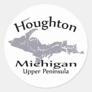 Pegatina del diseño del mapa de Houghton Michigan