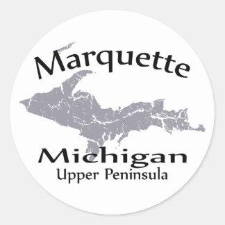 Pegatina del diseño del mapa de Marquette Michigan