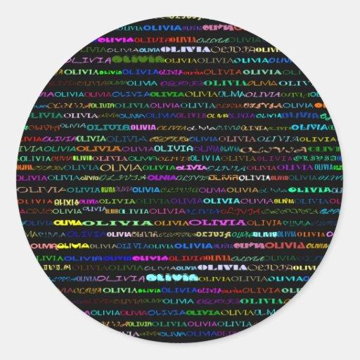 Pegatina del diseño I del texto de Olivia