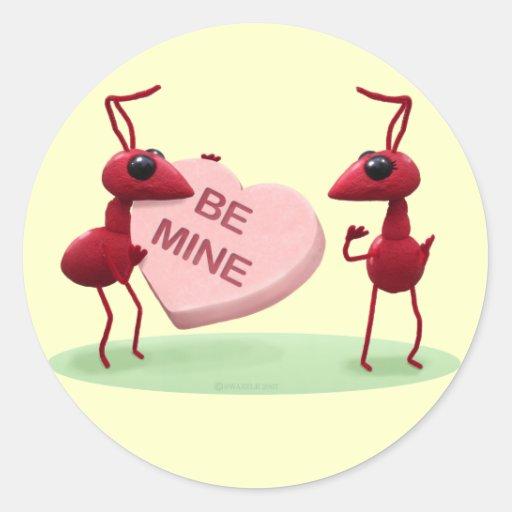 Pegatina del el día de San Valentín de la hormiga
