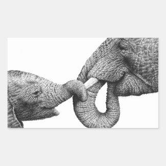 Pegatina del elefante africano y del becerro