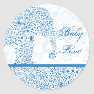Pegatina del elefante del amor del bebé azul