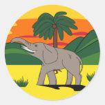 Pegatina del elefante y de la palmera de Gold