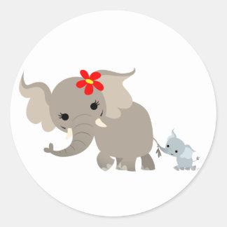 Pegatina del elefante y del becerro de la madre