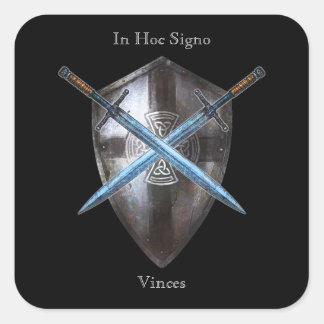 Pegatina del escudo de armas - en Signo hoc Vinces