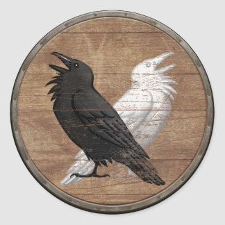 Pegatina del escudo de Viking - los cuervos de Odi