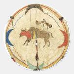 Pegatina del escudo del guerrero del búfalo