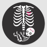 Pegatina del esqueleto de Halloween de la mamá y d