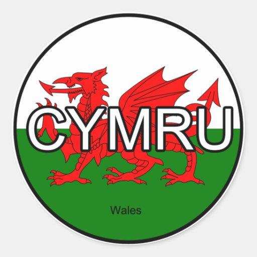 Pegatina del euro de País de Gales CYMRU Reino Uni