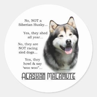 Pegatina del FAQ del Malamute de Alaska