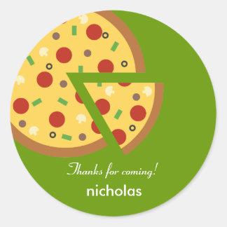 Pegatina del favor de fiesta de la pizza o sello