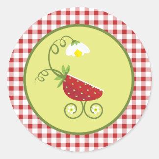 Pegatina del favor del carro de bebé de la fresa