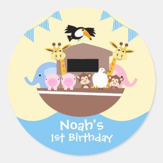 Pegatina del favor del cumpleaños de la arca de