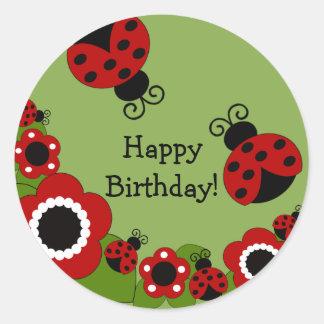 Pegatina del feliz cumpleaños de la mariquita