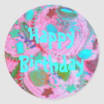 Pegatina del feliz cumpleaños de las magdalenas