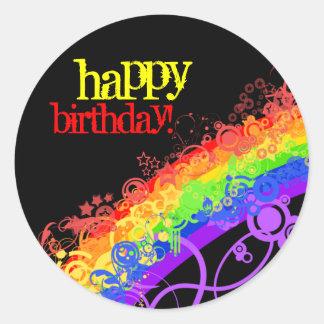 Pegatina del feliz cumpleaños del arco iris