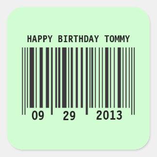 Pegatina del feliz cumpleaños del código de barras