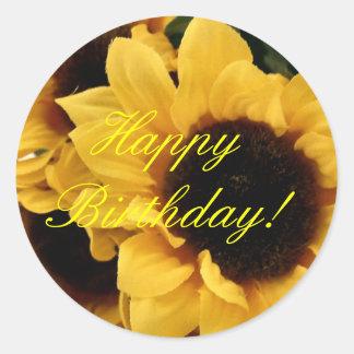 Pegatina del feliz cumpleaños del girasol