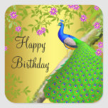 Pegatina del feliz cumpleaños del pavo real del az