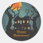 Pegatina del feliz Halloween de la casa encantada