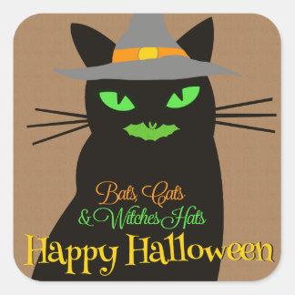 Pegatina del feliz Halloween del gato negro