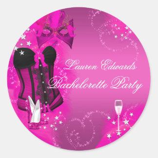 Pegatina del fiesta de Bachelorette del rosa del
