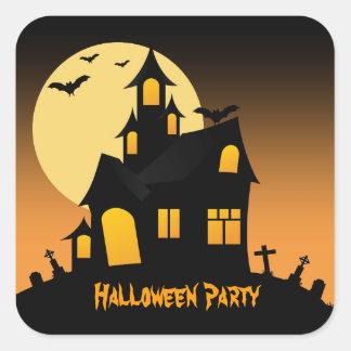 Pegatina del fiesta de Halloween de la casa