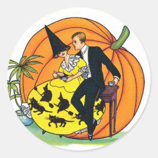 Pegatina del fiesta de Halloween del vintage