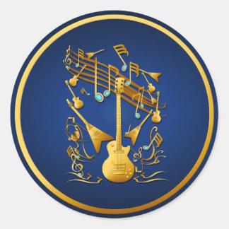 Pegatina del fiesta de la guitarra del oro