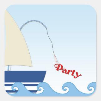 Pegatina del fiesta de las ondas del velero