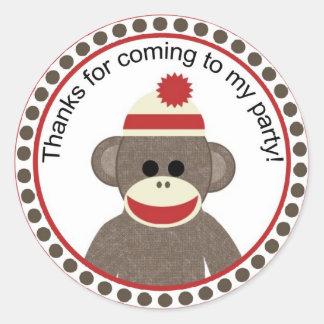 pegatina del fiesta del mono del calcetín