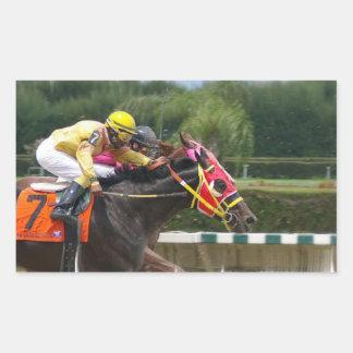 Pegatina del final de la carrera de caballos