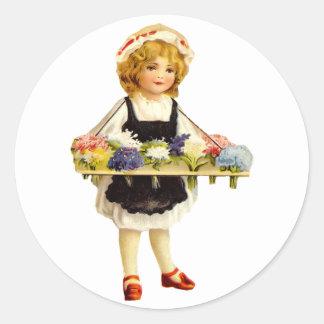 Pegatina del florista del vintage