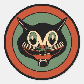 Pegatina del gato de Halloween del art déco del vi