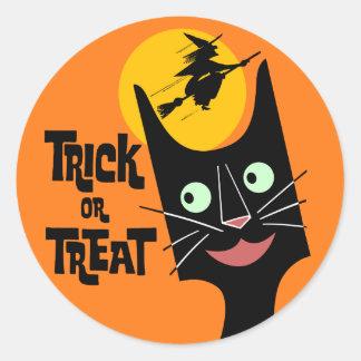 Pegatina del gato de Halloween del truco o de la i