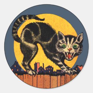 Pegatina del gato de Halloween del vintage