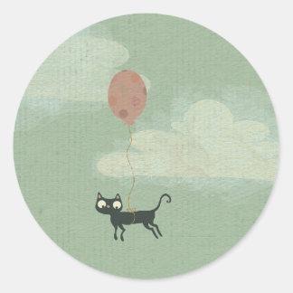 Pegatina del gato de vuelo