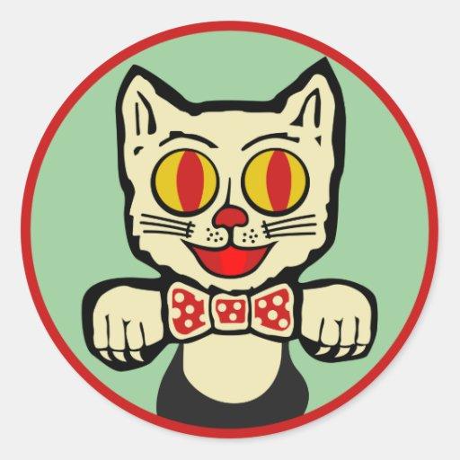 Pegatina del gato del vintage